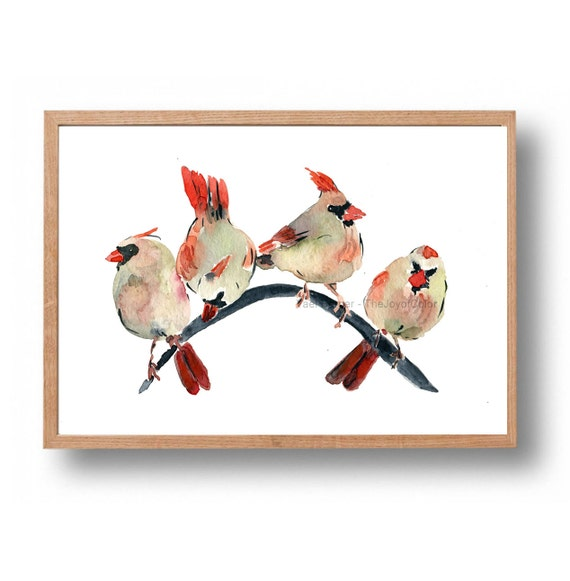 Cardinals gathering, cardinals watercolor print , Christmas, wall decor, Nursery decor, woodland art, bird art, wild life print