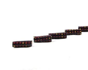 Handmade Fabric Beads Fiber Textile Bugle Beads Big Hole Beads Large Hole in Geometric  Print Polka Dots in Rust Orange Gold Black Fall
