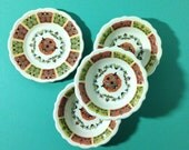 Syracuse China Coral n' Jade Restaurant Ware - 3 Little Bowls and 1 Small Plate Vintage 1960's
