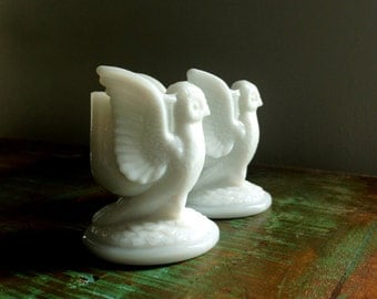 TWO Westmoreland Milk Glass White Owl Vintage Toothpick Holders