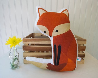 Fox Pillow Plush Soft Toy Woodland Nursery Decor Ready to Ship
