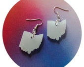 Lasercut State Jewelry - Ohio Earrings in Translucent White Acrylic Plastic