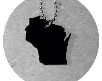 Wisconsin Acrylic Necklace in Black, State Necklace