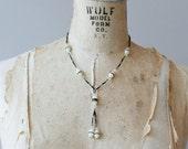 1920s Czech glass black & white necklace / 20s antique Czechoslovakia frosted glass crystal sautoir
