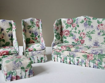 Vintage 1960s-70s Upholstered Doll House Living Room Furniture,Couch, 2 Armchairs, and Ottoman