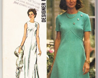 Vintage 1973 Simplicity 5911 UNCUT Sewing Pattern Misses' Dress in Two Lengths Size 16 Bust 38