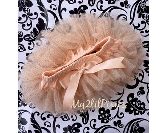 CHAMPAGNE TUTU Bloomer ruffles all the way around,Chiffon Baby Bloomer, Diaper cover, photo prop, newborn bloomer -ready to ship!