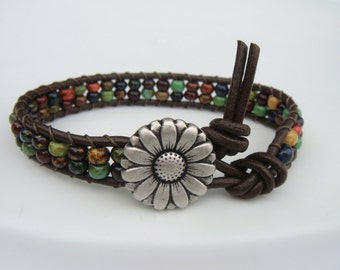 Rustic Beaded Leather Bracelet with Daisy Button