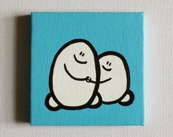 Chep Couple - Acrylic Painting On Canvas - Original - Tiny Miniature Painting