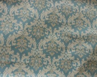 Yuwa Damask Blue and Cream 828603A Cotton Fabric