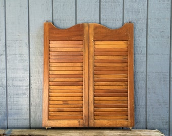 Vintage Wooden Shutter Doors Antique Shutters Swinging Cafe Doors Old Bar Doors Louvered Wood Saloon Shutter Doors