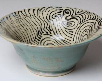 Small Ceramic Bowl - Hand Drawn Design - Art Deco Green