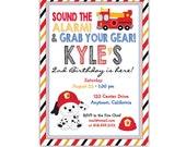 Firetruck Birthday Invitation • Fireman Invite • Fire Truck Party • Fireman Birthday • Firetruck Birthday Party • PRINTED on CARDSTOCK