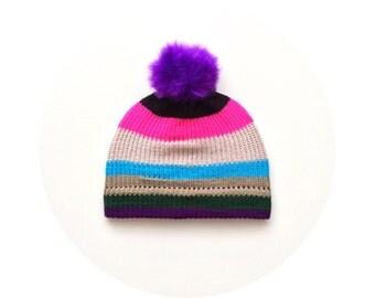 Pompom ski hat, colourful striped knit beanie, winter bobble beanie FREE SHIPPING