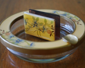 vintage floral enameled ashtray and match box cover - midcentury - mad men - 5th Ave. - high fashion