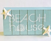 Beach House Sign - Aqua Beadboard with Natural Knobby Starfish