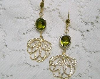 Olive Green Multi-loop Long Dangle Drop Earrings, Multi-loop Hoop Earrings, Green and Gold, Gold Loop Earrings, Bridesmaids Earrings, Olive