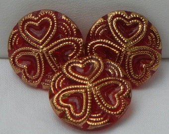 Small Three Hearts Czech Glass Buttons (3)