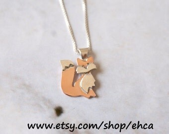 Handmade Tiny Copper and Silver Fox Necklace, With One Or Two Tails