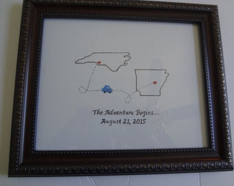 State to state Retirement Picture, gift handpainted, Going Away Gift, Retirement Gift, State Gift