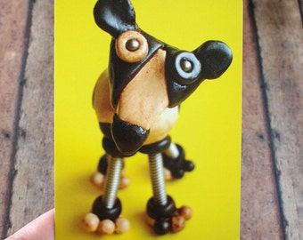 Robot Dog Cow Sculpture Art Postcard