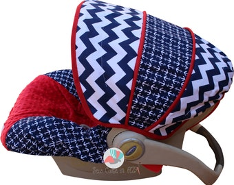 Infant Car Seat Cover Navy Nautical
