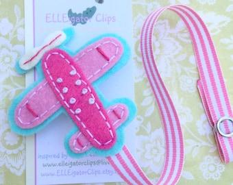 Airplane Pacifier Clip - PINK Little Pilot - Felt Pacifier Clip Holder / Baby Girls
