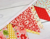 Bunting Banner, Vintage Fabric Banner, Girl Nursery Decor, Flowers, Floral, Birds, Pink, Red, Yellow  - The Sweetest Thing