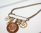 Steampunk  Watch Movement and Cog Kilt Pin Necklace