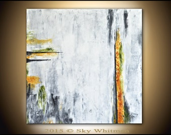 Original Large Abstract Modern Contemporary Oil Art White Gray Chalky Abstract Painting Minimalist 36x36 by Sky Whitman