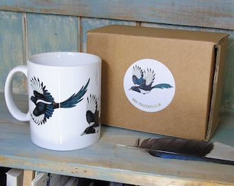 Magpies Illustration Mug