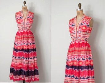 vintage 1960s dress /  mod printed 60s maxi dress / Good Vibrations