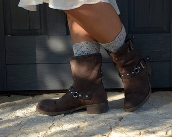 Light Gray Color Crocheted open work lacy leg warmers spats boot cuffs fall winter fashion