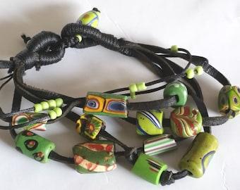 Modern Tribal Multi Strand Antique African Trade bead Kangaroo Leather Bracelet