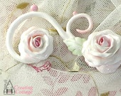 Swirl Furniture Applique handmade White Roses with Pink Accents