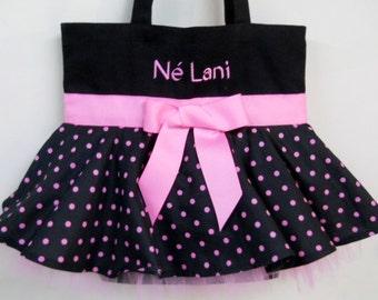 Dance bag, tutu bag, ballet bag, Embroidered Dance Bag - Black MINI Bag with Pink Polka Dot Skirt and Pink Tulle Tutu Tote Bag - MSTB44 - EL