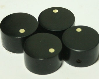Set of 4 Ebony Guitar Knobs with Brass Indicator (7/8 dia x 9/16h)