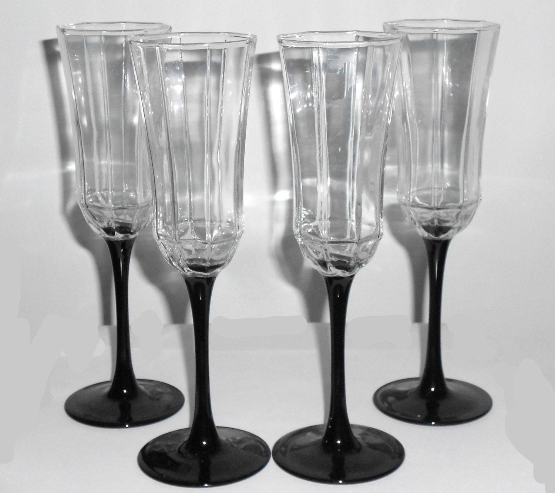 4 Vintage Crystal Champagne Flutes Wine Glasses With Black