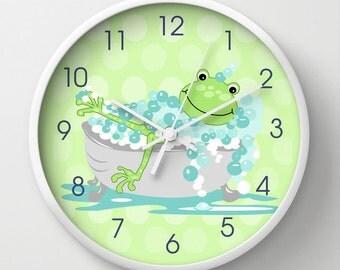 "Green Frog in Tub Child's Bathroom Clock, Kids Bath Decor, 10"" wall clock"