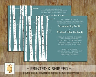 Birch Tree (Blue) Nature Wedding, Bridal Shower, Baby Shower Custom PRINTED invitations