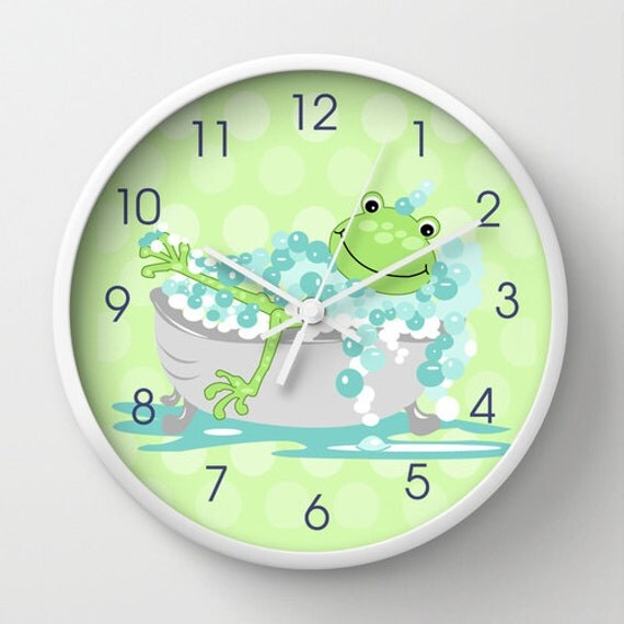 Green Frog in Tub Child s Bathroom Clock  Kids Bath Decor  10  wall clock. Green Frog in Tub Child s Bathroom Clock Kids Bath Decor