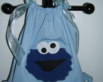 Custom Boutique Appliqued Cookie Monster Blue with Blue Dot Pillowcase Dress   FREE SHIPPING