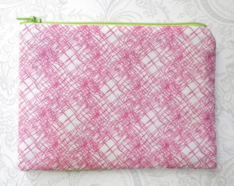 Pink Sketch -- Zippered Cosmetic Bag -- Makeup -- Cotton Pouch -- Lime Gray