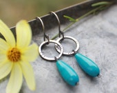 Baby need Turquoise, MADE TO ORDER Turquoise and Silver Beaded Earrings