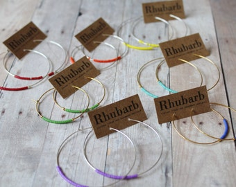 Hoop Earrings, Colored Seed Bead Hoop Earrings, Hoop Earrings, Gold Hoops,