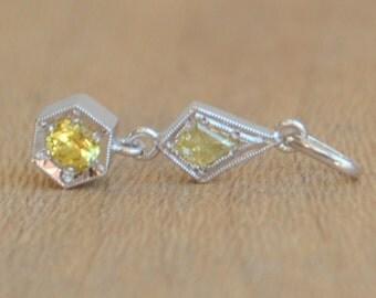 Yellow sapphire and Kite diamond Pendant 14 K White Gold