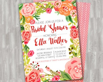 Watercolor Floral Garden Bridal Shower - Custom PRINTABLE Invitation