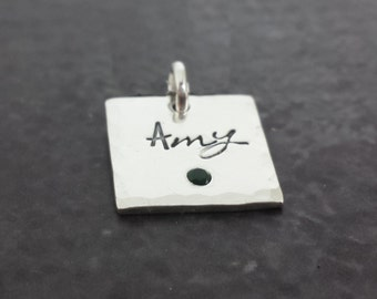 Personalized Birthstone Charms - Flush Set Charms - Sterling Silver Charms