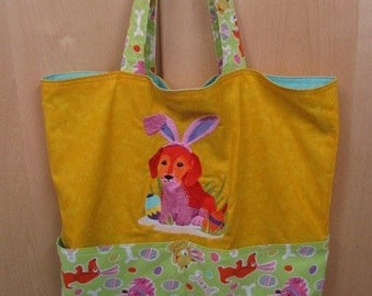 Easter Bunny Puppy Eco Friendly Tote, Purse, Bag