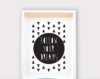 Follow Your Dreams / Wall Art 8x10 Print, Kids Room Decor / Nursery Art Print / Kids Interior Design
